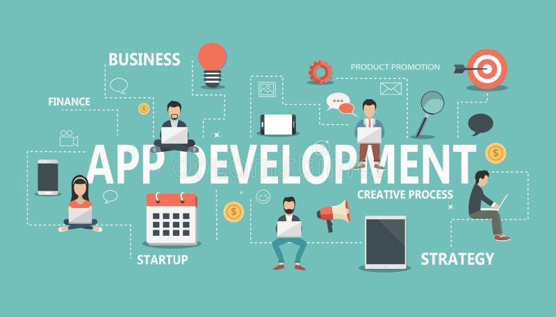 Płaski wektorowy projekta pojęcie dla podaniowego rozwoju Pojęcie budować pomyślnego biznes ilustracja wektor