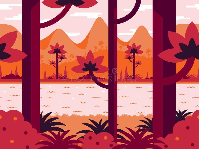 Płaski wektorowy tło w pomarańcze barwi z lasem, rzeką i górami, royalty ilustracja