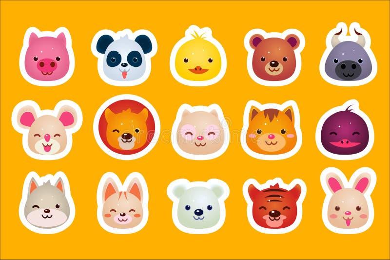 Płaski wektorowy ustawiający śliczne zwierzęce twarze świnia, panda, kaczka, niedźwiedź, byk, mysz, lis, kot, wilk, tygrys i król ilustracji