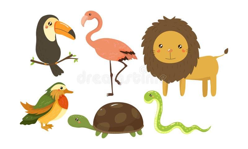 Płaski wektorowy ustawiający śliczni dżungli zwierzęta, ptaki i afrykańskie fauny Przyroda temat Elementy dla dziecko pokoju wyst ilustracji