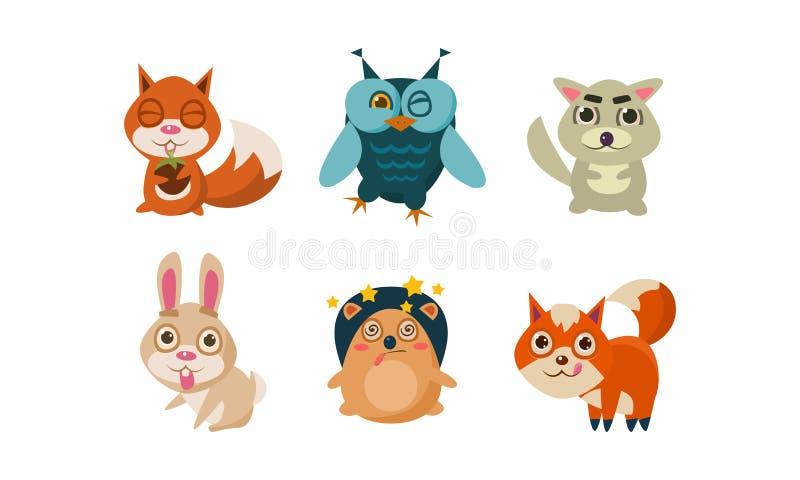 Płaski wektorowy ustawiający śliczni kreskówek zwierzęta Śmieszne lasowe istoty wiewiórka, sowa, zając, jeż, lis i wilk, przyroda royalty ilustracja