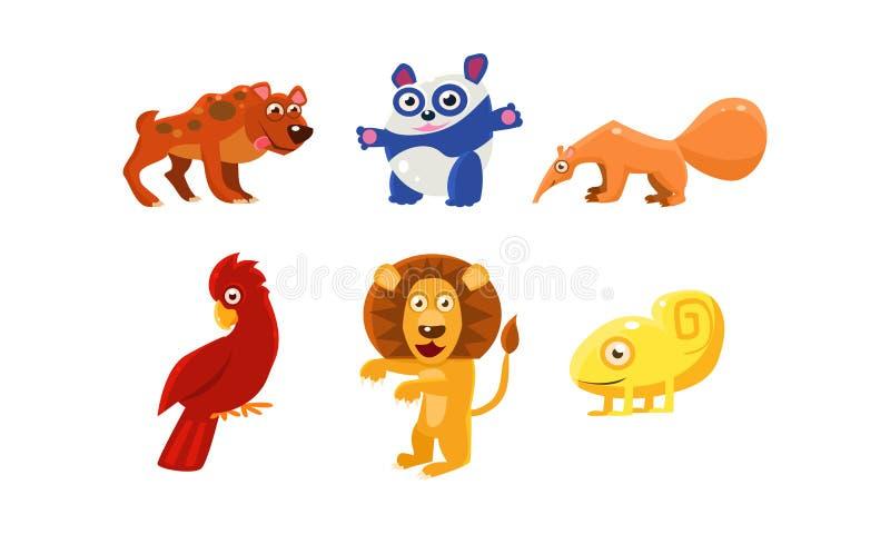 Płaski wektorowy ustawiający śmieszni zwierzęta postać z kreskówki dzieci kolorowa graficzna ilustracja Zoo i przyrody temat royalty ilustracja