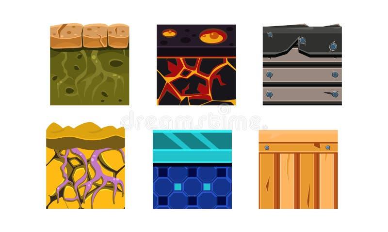 Płaski wektorowy ustawiający 6 bezszwowych tekstur dla online mobilnych gier Ziemia, drewno i lawa, bezszwowi kolorowi wzory royalty ilustracja
