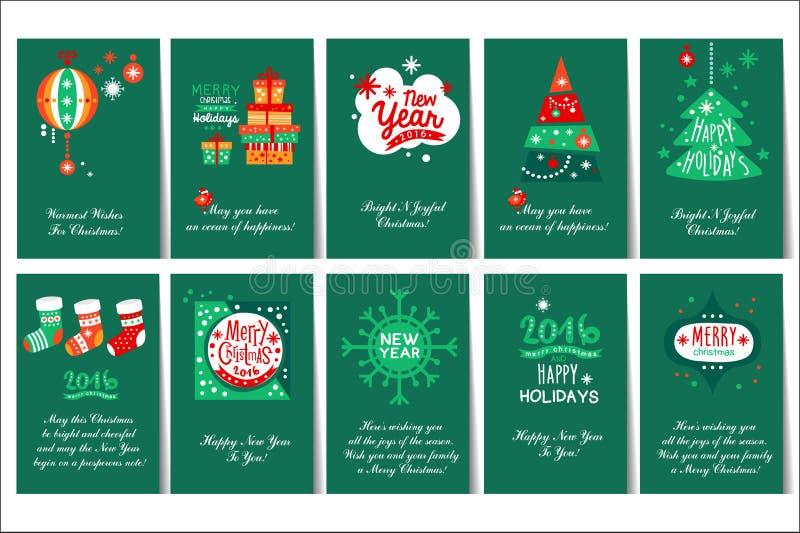 Płaski wektorowy ustawiający bożych narodzeń i nowego roku kartki z pozdrowieniami z gratulacjami Zielone pocztówki z prezentów p ilustracji