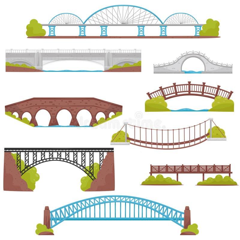 Płaski wektorowy ustawiający cegły, żelaza, drewnianych i kamiennych mosty, Krajobrazowi elementy Architektury i miasto budowy te royalty ilustracja