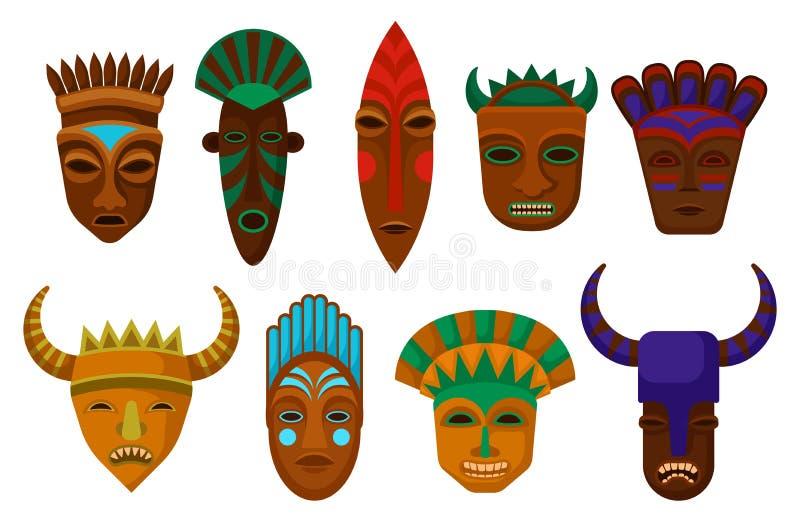 Płaski wektorowy ustawiający etniczne drewniane maski Obrządkowi atrybuty Symbole antyczni Afrykańscy plemiona Elementy dla promo ilustracja wektor