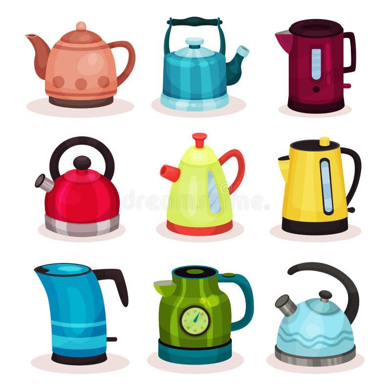 Płaski wektorowy ustawiający herbaciani czajniki kaczki formularzowi kuchenni ładni poparcia naczynia Domowy urządzenie dla wrząc ilustracja wektor