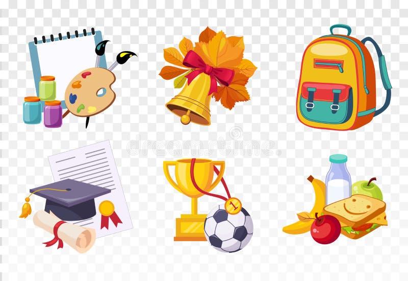 Płaski wektorowy ustawiający ikony odnosić sie szkolny temat Rysunkowe lekcj rzeczy, dzwon, plecak, kwadratowy kapelusz i dyplom, ilustracja wektor