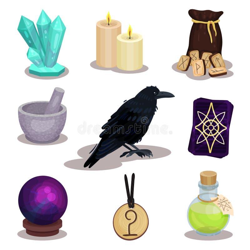 Płaski wektorowy ustawiający ikony odnosić sie wróżba temat Mistyczne rzeczy Magiczne sfer świeczki, drewniani runes, kruk, tarot ilustracja wektor