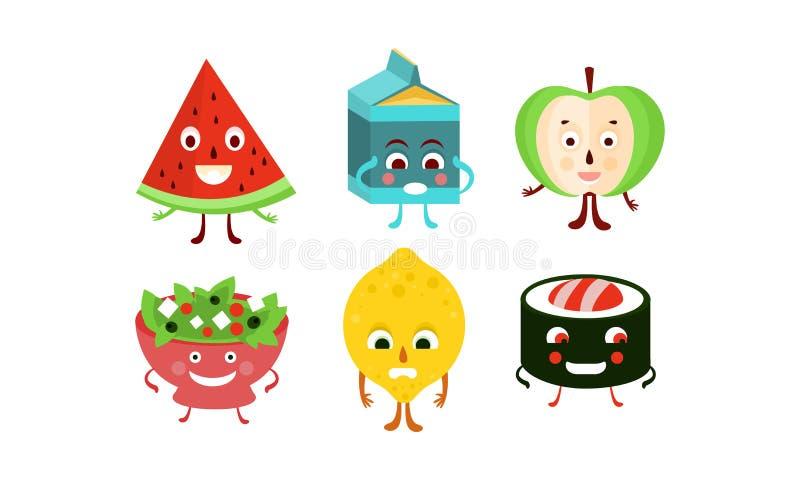 Płaski wektorowy ustawiający jedzenia i napoju charaktery Zhumanizowane owoc, suszi rolka, puchar sałatka i paczka mleko, ilustracja wektor