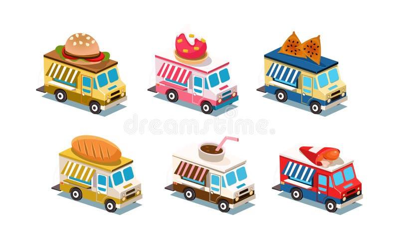 Płaski wektorowy ustawiający karmowe ciężarówki Samochody z hamburgerem, lody, chlebem, kurczak nogami i kawą na dachu, Biznes na ilustracji