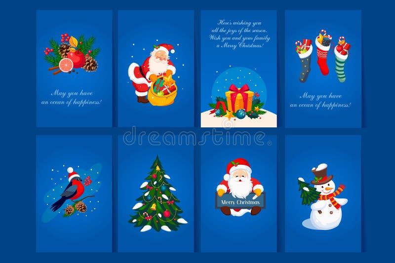 Płaski wektorowy ustawiający 8 kartka z pozdrowieniami z gratulacjami dla bożych narodzeń i nowego roku Błękitne pocztówki z Świę royalty ilustracja