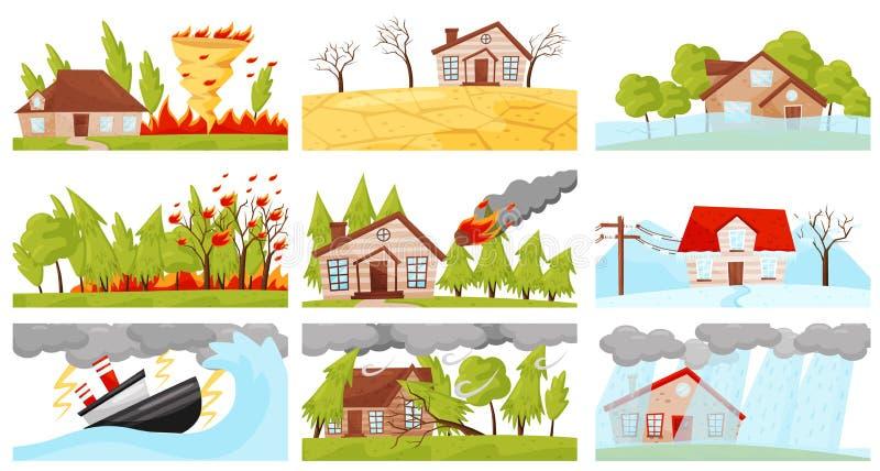 Płaski wektorowy ustawiający katastrof naturalnych ilustracje Pożarniczy kłębowisko, błyskawicowa burza, pożar, meteorytu spadek ilustracja wektor