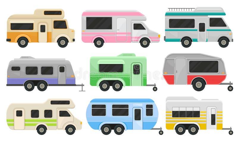 Płaski wektorowy ustawiający klasyczni obozowiczy samochody dostawczy, przyczepy i Rekreacyjni pojazdy Stwarza ognisko domowe koł royalty ilustracja