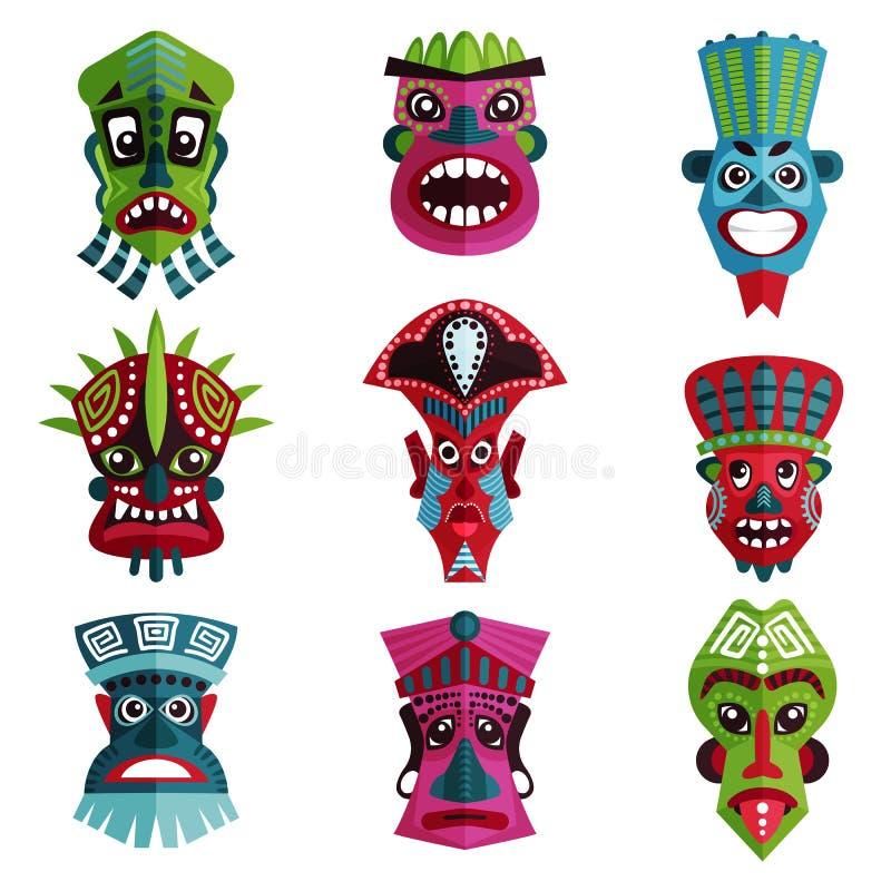 Płaski wektorowy ustawiający kolorowe zulu maski z ornamentami Tradycyjni symbole rdzenni narody, Afrykańscy plemiona royalty ilustracja