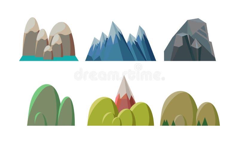Płaski wektorowy ustawiający kolorowi wzgórza i skaliste góry Natura krajobrazowi elementy mobilna gra ilustracji