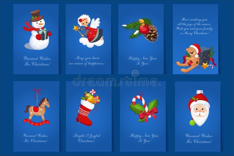 Płaski wektorowy ustawiający 8 kolorowych wakacji kart Błękitne pocztówki dla Wesoło bożych narodzeń i nowego roku z bałwanem, ni ilustracja wektor
