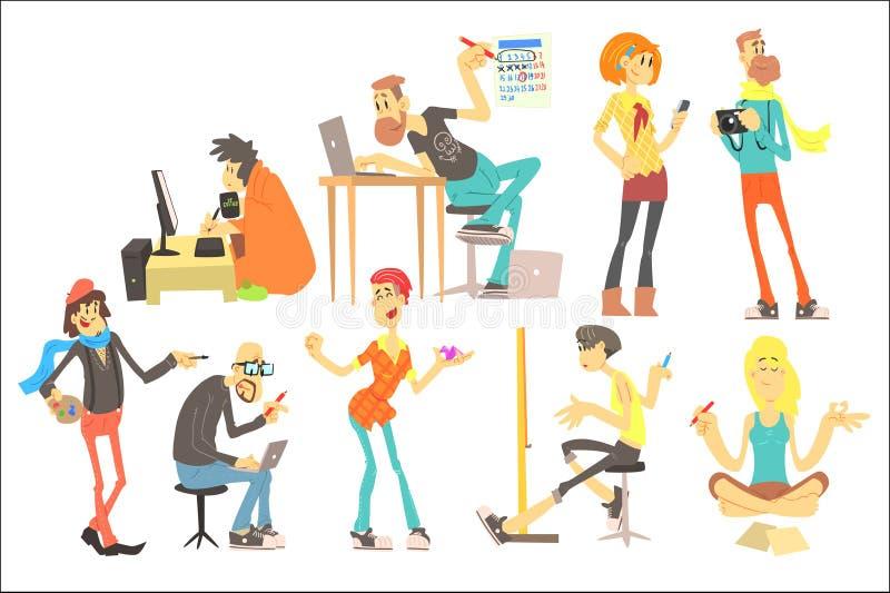 Płaski wektorowy ustawiający kreskówek kreatywnie ludzie Programista, artysta, ilustrator, projektant, fotograf, pisarz, model royalty ilustracja