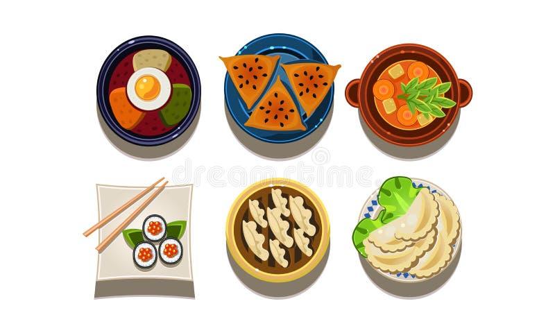 Płaski wektorowy ustawiający kreskówki jedzenia ikony Chińska i Koreańska kuchnia azjatykci jedzenie smażący ryżowi tradycyjni wa ilustracja wektor