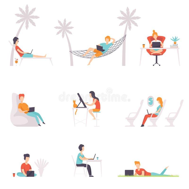 Płaski wektorowy ustawiający ludzie z laptopami Mężczyzna i kobiety pracuje przy różnymi miejscami: dom, biuro i wakacje, plenero ilustracji