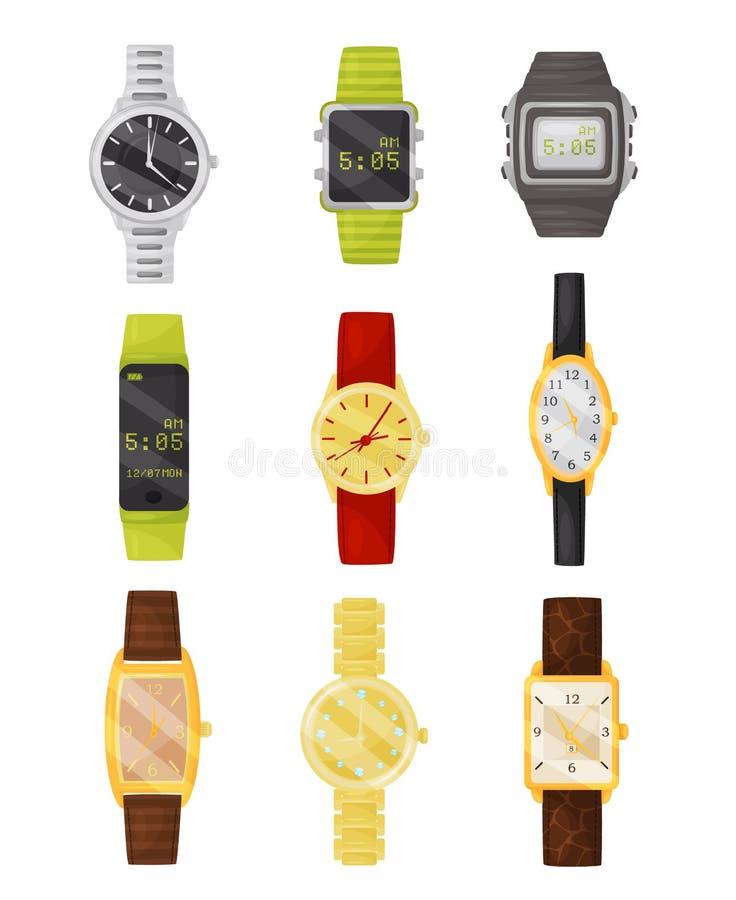 Płaski wektorowy ustawiający machinalni i cyfrowi wristwatches Elegancki akcesorium Urządzenia elektroniczne ilustracja wektor