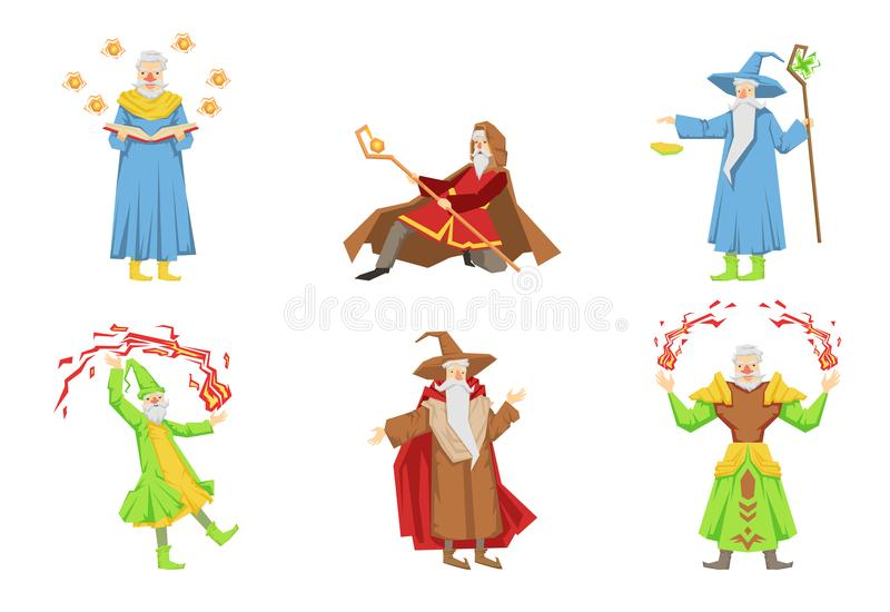 Płaski wektorowy ustawiający magicy w różnych akcjach Starzy siwobrodzi czarownicy Postać z kreskówki z magicznymi władzami ilustracja wektor
