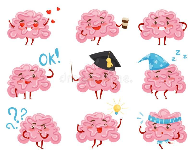 Płaski wektorowy ustawiający menchie humanizował mózg w różnych sytuacjach postać z kreskówki śmieszni ludzki organ royalty ilustracja
