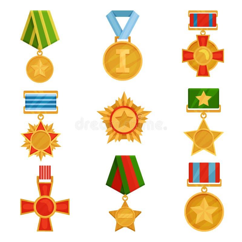 Płaski wektorowy ustawiający militarni medale z kolorowymi faborkami Błyszczący złoci rozkazy Symbole zwycięstwo Weterana dnia te ilustracja wektor