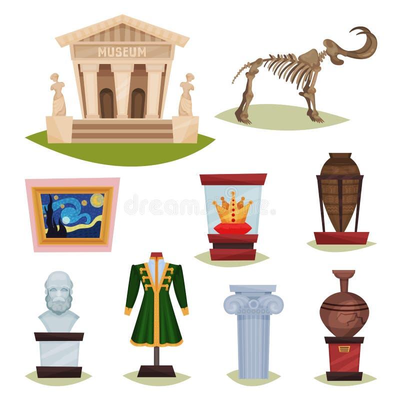 Płaski wektorowy ustawiający muzealni eksponaty Mamutowy kościec, ceramiczne wazy, odziewa, złota korona, sławny obraz i kolumna, ilustracji
