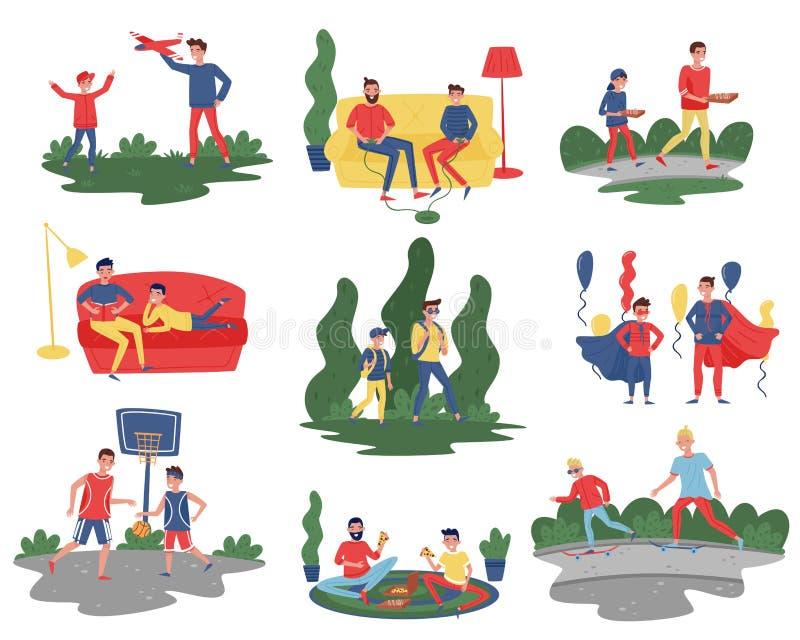 Płaski wektorowy ustawiający ojcowie z synami w różnych akcjach Tata wydaje czas z ich dzieciakami w domu i plenerowy ilustracji