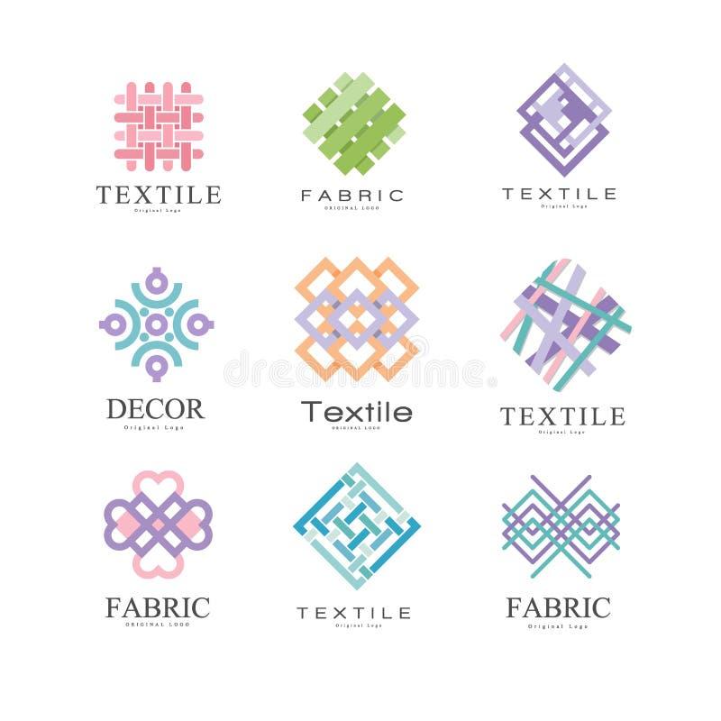 Płaski wektorowy ustawiający oryginalni logowie dla tkaniny lub tkaniny sklepu Kolorowi geometryczni emblematy Elementy dla wizyt royalty ilustracja