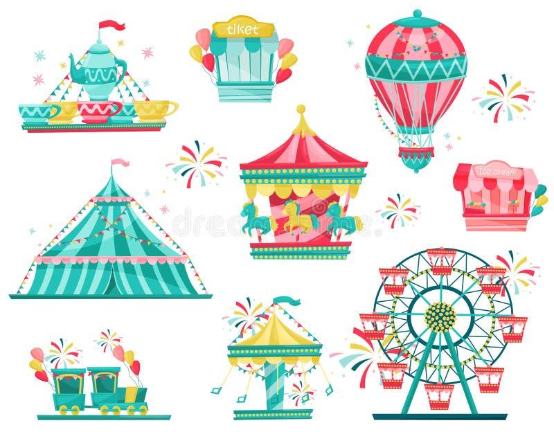 Płaski wektorowy ustawiający parka rozrywkiego wyposażenie Karnawałowi carousels, biletowy budka i lody, opóźniają Rozrywka temat royalty ilustracja
