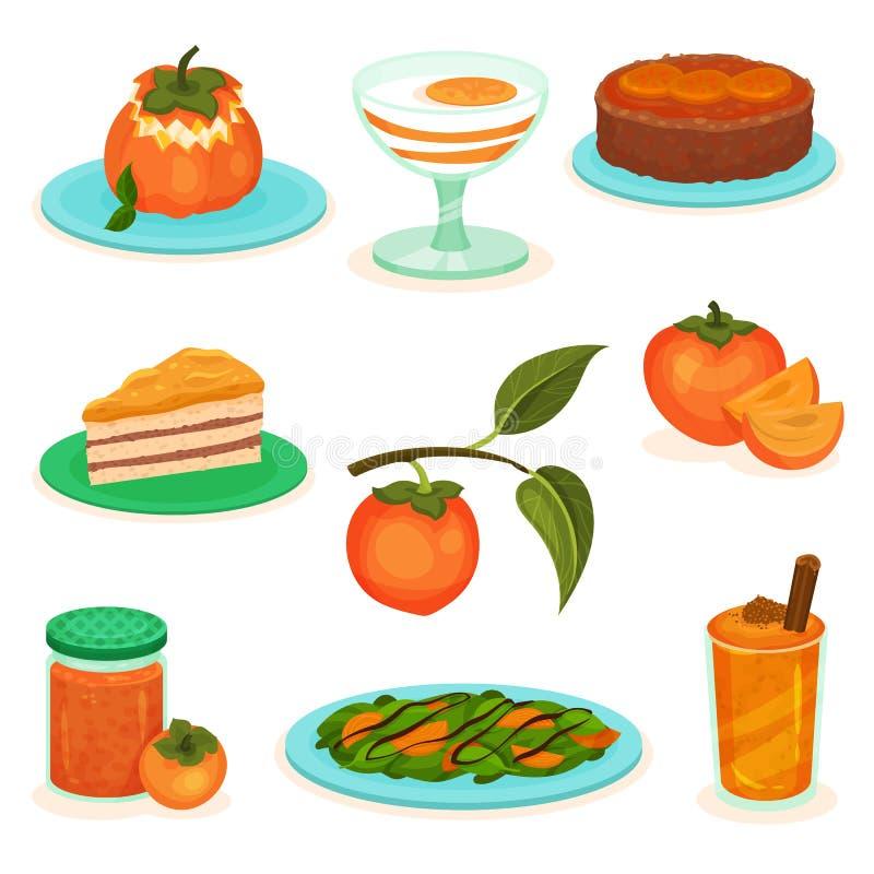 Płaski wektorowy ustawiający persimmon napoje i desery Torty, jogurt i smoothie, Słodka i smakowita owoc Sałatka, bank dżem ilustracji