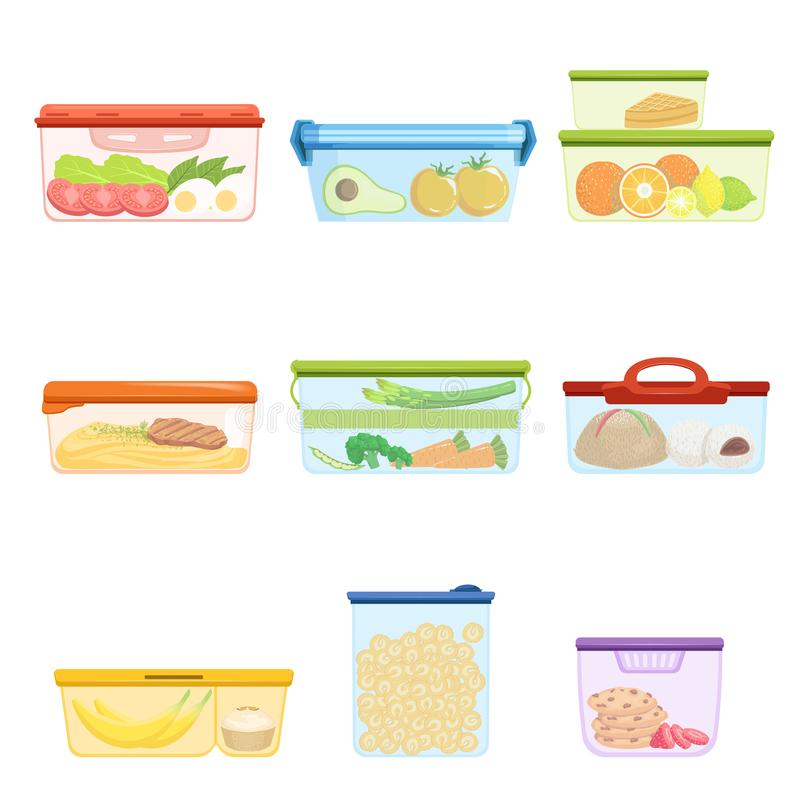 Płaski wektorowy ustawiający plastikowi zbiorniki z karmowymi warzywami, owoc, cukierki, makaron Deser dla lunchu puree ziemniacz ilustracji