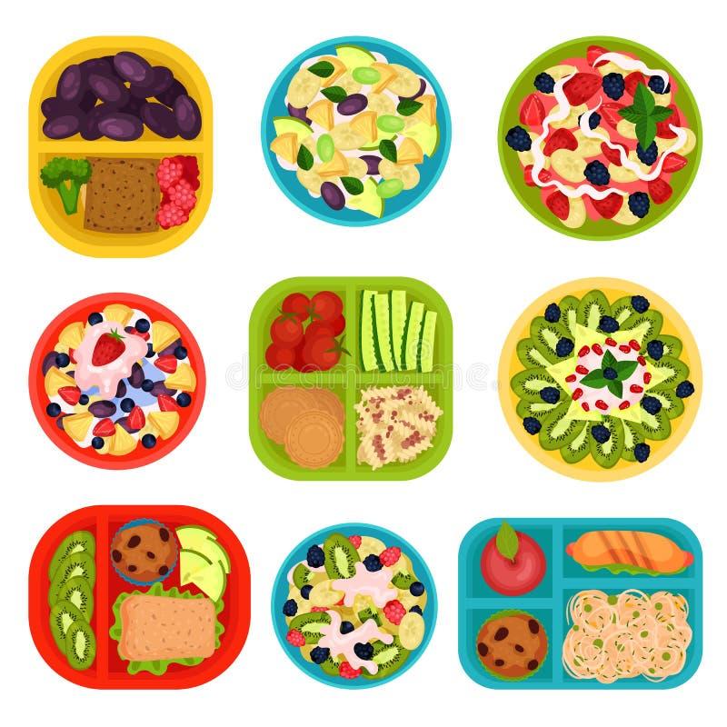 Płaski wektorowy ustawiający puchary z owocowymi sałatkami i lunchów pudełkami z jedzeniem zdrowe jeść Smakowici naczynia dla śni ilustracji