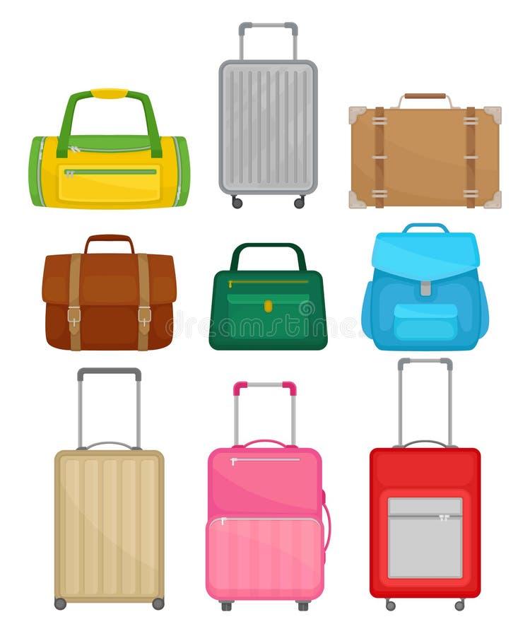 Płaski wektorowy ustawiający różne torby Kobiety torebka, rzemienna teczka, plecak, podróżnik walizki na kołach, molton torba royalty ilustracja