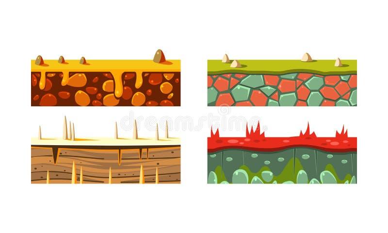 Płaski wektorowy ustawiający 4 różnej bezszwowej platformy dla mobilnej gry Bloki z trawą i piaskiem Hazard wartości ilustracja wektor