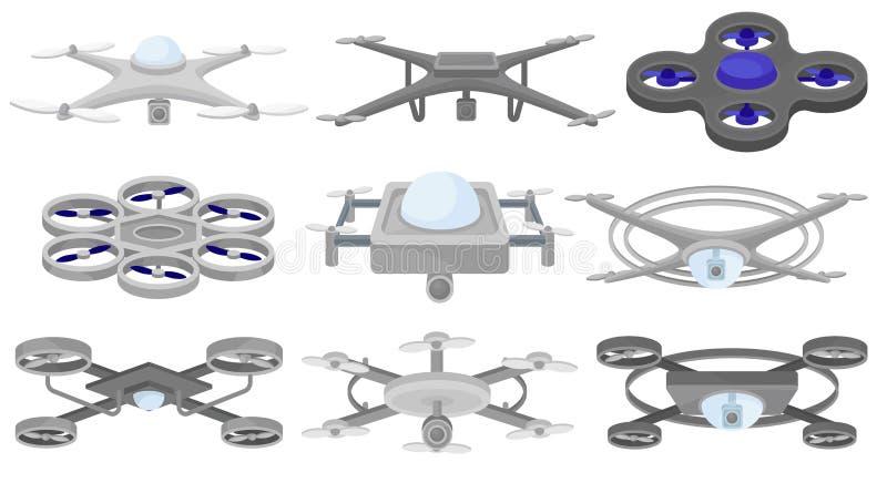Płaski wektorowy ustawiający różni quadcopters Bezpilotowi powietrzni pojazdy Latający trutnie nowoczesna technologia ilustracja wektor