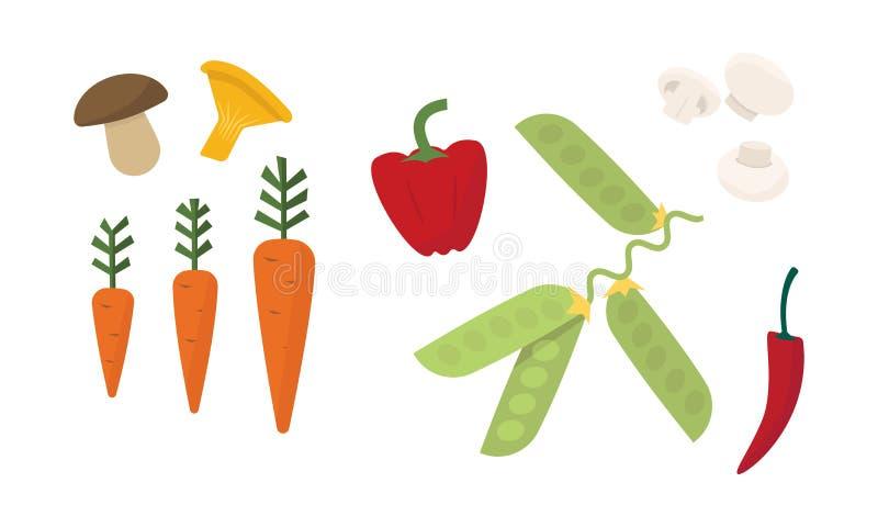 Płaski wektorowy ustawiający różni warzywa Świeże pieczarki, dojrzała marchewka, czerwony pieprz i zieleni grochy, Organicznie pr ilustracja wektor