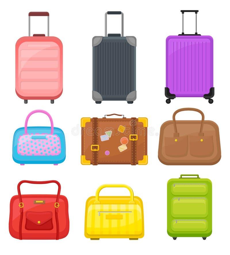 Płaski wektorowy ustawiający różnorodne podróży torby Walizki na kołach, eleganckich kobiet torebkach i retro skrzynce z majchera royalty ilustracja