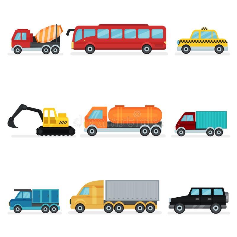 Płaski wektorowy ustawiający różnorodny miastowy transport Pojazdy mechaniczni dla pasażerów, przemysłowej maszynerii i usługowyc royalty ilustracja