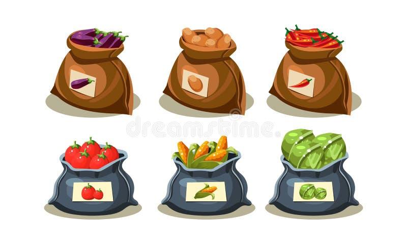 Płaski wektorowy ustawiający torby świezi warzywa pełno Dojrzała oberżyna, grula, gorącego chili pieprz, pomidor, kukurudza i kap ilustracji