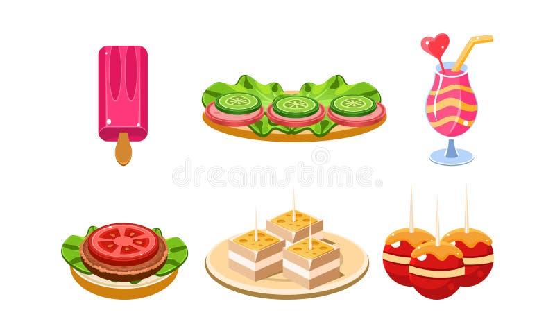 Płaski wektorowy ustawiający tradycyjne Francuskie przekąski i napój Lody, kanapki, koktajl i desery, Kreskówki jedzenia ikony royalty ilustracja