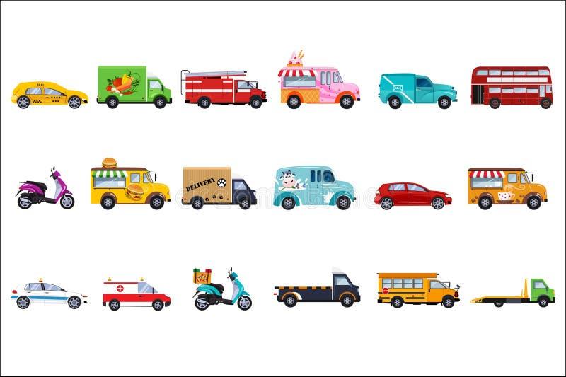 Płaski wektorowy ustawiający usługowi pojazdy Samochód policyjny, taxi, pożarniczy silnik, karetka, doręczeniowa ciężarówka, tury ilustracja wektor