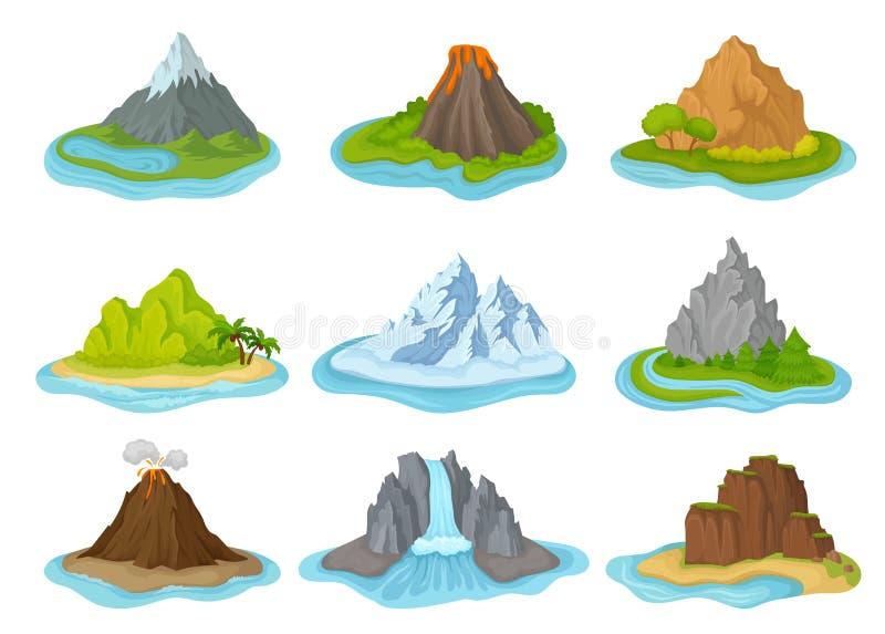 Płaski wektorowy ustawiający wyspy z górami otaczać wodą naturalnego krajobrazu Elementy dla podróży wiszącej ozdoby lub plakata royalty ilustracja