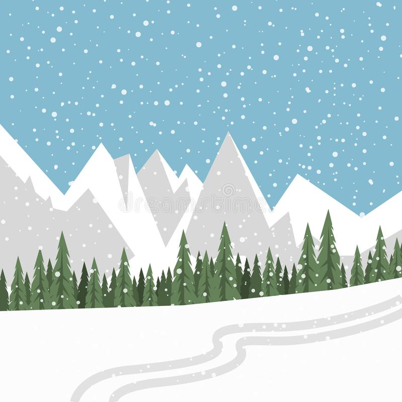 Płaski wektoru krajobraz z sylwetkami drzewa, wzgórza i góra, ilustracji