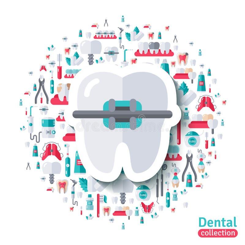 Płaski ząb w brasu majcheru ikonie ilustracja wektor