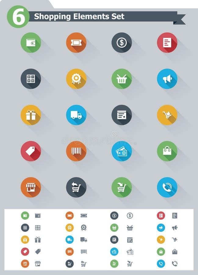 Płaski zakupy ikony set ilustracja wektor