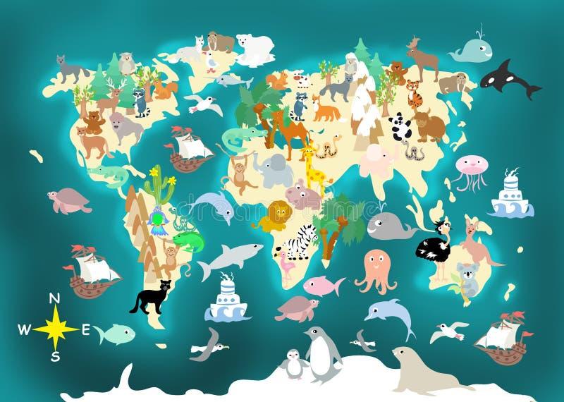 Płaskich Światowych zwierząt dzieciaków cartoonish mapa ilustracja wektor