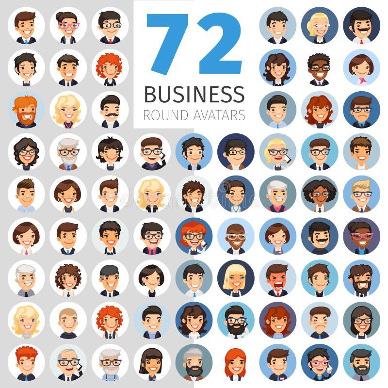 Płaskich biznesmenów Round Avatars Duża kolekcja ilustracji